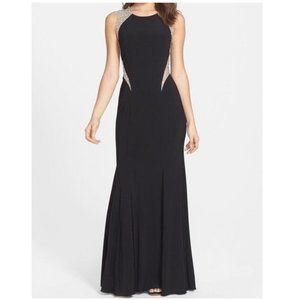 💜XSCAPE💜sz 12 BLACK BEADED LONG GOWN WITH TAGS